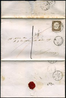 Kingdom of Italy, 1861 – Victor Emmanuel II. 10 cent stamp – Sardinia type – 'Ponsacco'  cancellation. Sassone #14 CL + P.11 for the cancellation.
