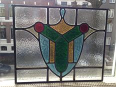 Beautiful old Art Nouveau stained glass Sun Catcher in soft colours with mosaic pieces - approx 1920.