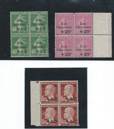 France 1929 - Caisses d'Amortissement in block of 4 - Yvert no. 253 to 255