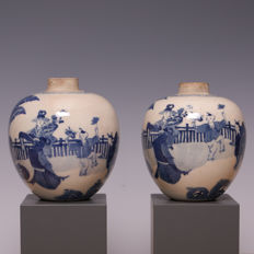 "Blue and white ""soft paste"" porcelain tea canisters - long lis and children in a garden - China - 19th century"