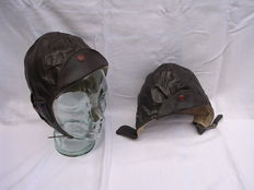 2 leather Solex hats - 1950's/60's