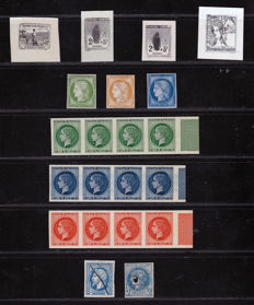 France 1914/1920 - Test Group with Malmaison Series - 21 stamps Colour tests and four proofs.
