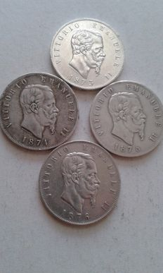 Kingdom of Italy – 5 lire coins, 1873/1876  (4 coins in total) – silver