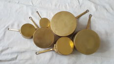 French yellow copper pans set of six