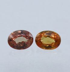 Pair Padparadscha Sapphires - 0.49 ct - No Reserve