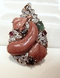Drop pendant with mixed precious stones
