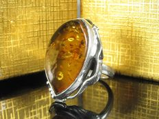 A Sterling silver ring with amber, handmade - 1990