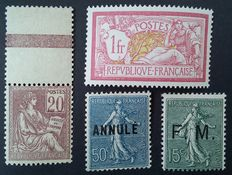 France 1900/1923 – Selection of 4 stamps from the semi-modern period including 3 signed Calves – Yvert no. 113, 121, FM 3 and 161-CI 2.