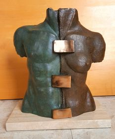 Fili Plaza - signed sculpture - Duo Torso - hombre y mujer - bronze plated