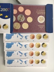 Germany, Euro official coin set 2002, 2003, 2004, 2005, 2007 A, D, F, G, J complete