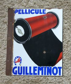 Pellicule Guilleminot - double sided enamel advertising sign - mid 20th century.