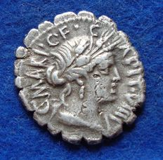 Roman Republic - Marius Capito 81 BC, minted in Rome, reverse side a farmer with oxteam.