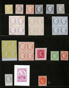 France 1870/1900 – Diverse trials and proofs with blocks of four