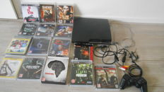 Playstation 3 black with 1 controller and 15 games