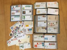 World - Batch FDCs and postal items from 1936 in 5 albums