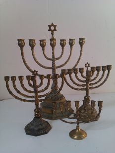 4 Jewish copper brass candle holders - Minorahs - Jerusalem - 2nd half of 20th century