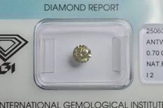 0.70 ct. Brilliant cut diamond, natural fancy light greyish yellow, G/G/G I2 – NO RESERVE -