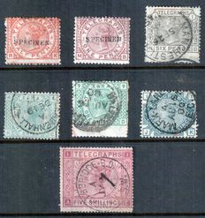 Great Britain 1876/1881 -Telegraph stamps selection.