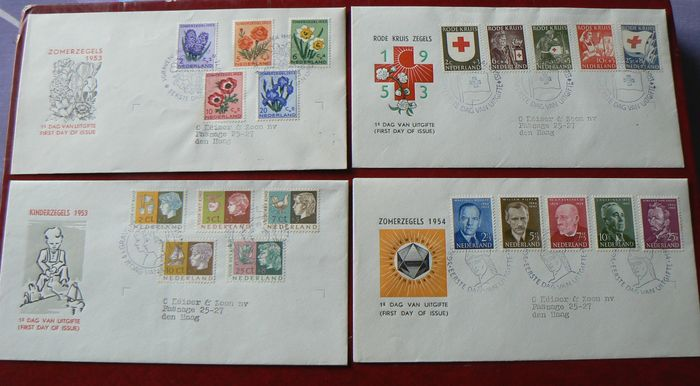 The Netherlands 1952 – Four FDCs – NVPH E13 through E16