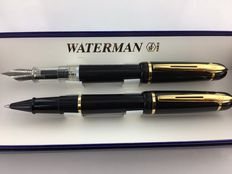 Waterman Phileas vulpen en roller. Zwart, Mint Condition.