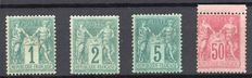 "France 1876/1890 - 4 stamps type ""SAGE"" - Yvert n°61, 74, 75, 98"