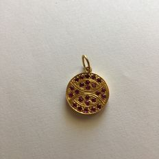 Round 18 kt gold pendant, with 24 rubies - 2.5 cm