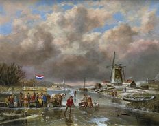 Albertus J. Temming (born in 1942) - Dutch winter landscape on the river with windmill, ship and refreshment stand