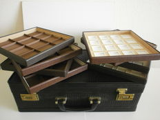 A black suitcase (presentation/salesman) for jewellery or coins