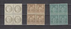 France 1872/1881 - Yvert 52, 75 and 80 in blocks of 4