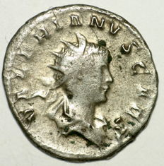 Roman imperial AR antoninianus - Valerian II - Jupiter on goat - struck in Cologne 257-258 - 21 mm 3,13 gr