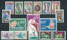French Polynesia and New Caledonia 1967/1969 - selection of stamps on stock cards.