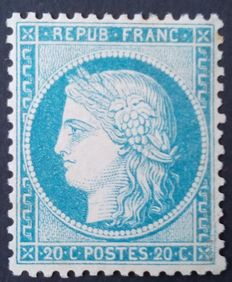 "France 1870 – Cérès ""Siège de Paris"", 20 c. blue – Yvert no. 37"