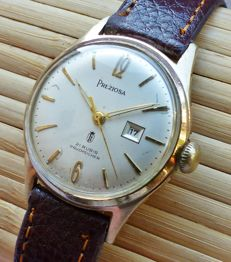 PREZIOSA 21 rubies with date -- men's wristwatch from the 60s