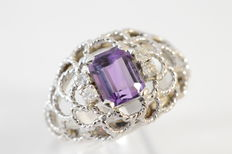 White gold cutaway band ring with a natural amethyst and four diamonds | No reserve price