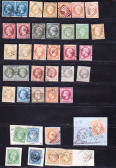 France - Napoleon III 1870 beautiful selection 31 stamps and 8 on fragments - between Yvert No. 13 and 32