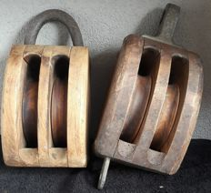 Big heavy antique pulley/hook block-The Netherlands-first half of 20th century