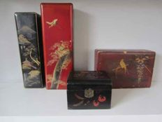 Lot of 4 painted boxes - tea, jewellery, pens and gloves boxes - China - Japan - mid 20th century.