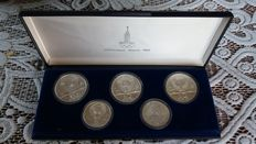 Russia – Set of 5 (2 x) and 10 (3 x) Rouble coins (5 different) XXII Olympic Games 1980 in Moscow – silver