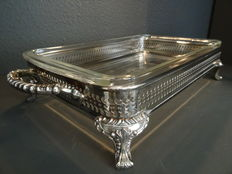 W M Rogers - Silver plated with glass open work serving tray on graceful feet