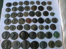 Roman Empire. Lot of 53 Roman coins from 16 different emperors (Nerva, Septimius, Antonine, Agrippa, Commodus, Magnentius, Honorius, Arcadius, Constantine, etcetera).