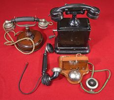 A set of old telephones