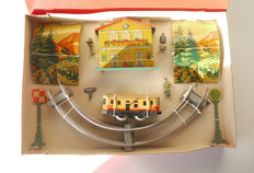JEP, France - Scale 0 (?) - Box with key mechanical train made of sheet metal, 50s