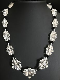 Black and white necklace from the 1930s, with large faceted crystal pearls - No reserve price