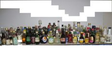 Liquor miniature bottles collection vintage 126 bottles from Apple cider to Wine and Vodkas, 1950 - 1990