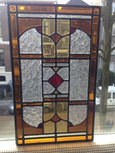 Beautiful old Jugendstil window hanger with soft colours in stained glass with mosaic pieces from mouth-blown glass - ca. 1920
