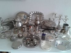 LArge collection of silver plated objects.