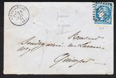 France 1871 - Letter with a Bordeaux 45 pierced in Line with big numbers seal and seal of June 1871 signed Calves