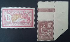 France 1900 - selection of two stamps, signed Calves, plus one digital certificate - Yvert No. 113 and 121