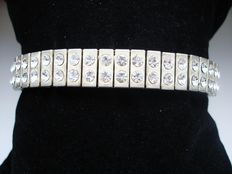 Vintage 1970s – Two row Glitzy Diamante Expansion Unisex Stretch Bracelet