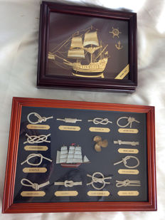 Two vintage maritime artworks The Golden Hind Galleon in bronze, 1960